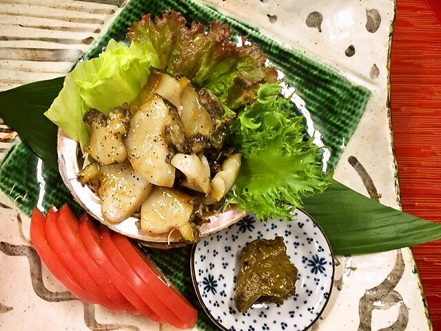 吉田町魚金寿しおすすめ鮑のステーキ