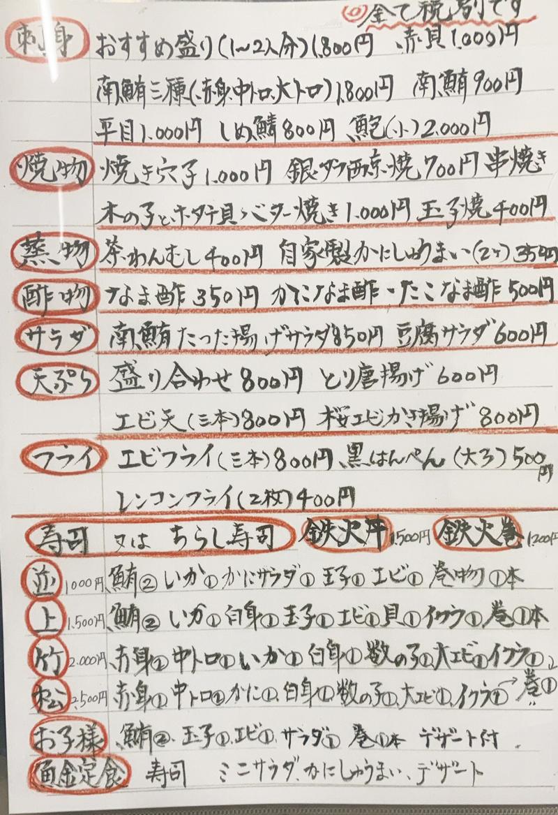 魚金ずしお品書き2009